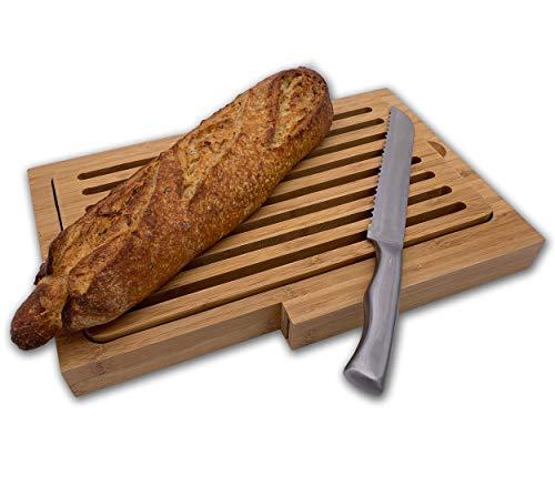 PlusMotion - Tabla de cortar pan con cuchillo de acero inoxidable, bandeja para migas de bambú