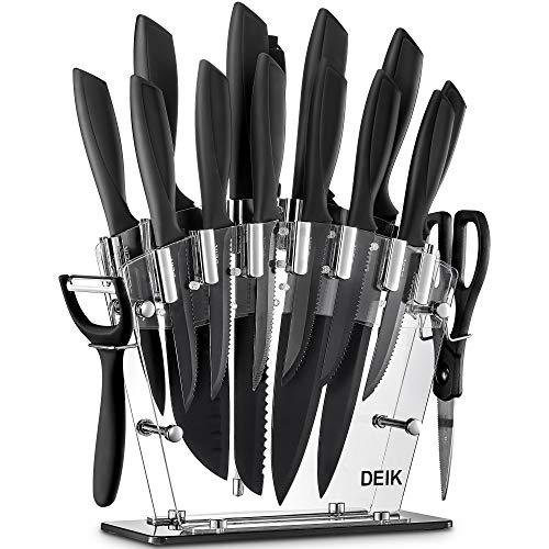 Deik Juego de Cuchillos de Cocina con Soporte Acrílico | 16 Piezas Set Cuchillos Cocina | Negro BO Oxidación Acero Inoxidable de Alto Carbono - Súper Afilado, Antioxidante y Anticorrosión