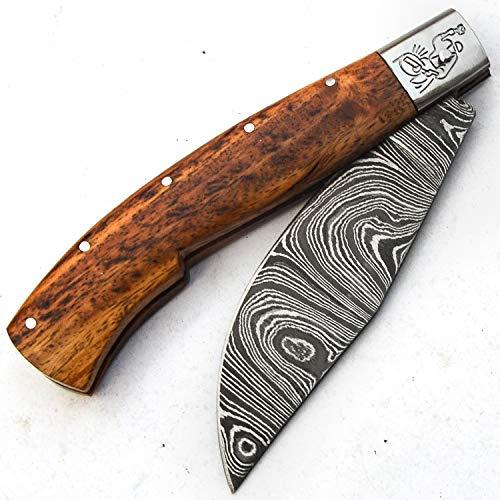 PAL 2000 Cuchillos de Damasco - Cuchillo Hecho a Mano de Acero de Damasco con Vaina - Patrón de Acero de Damasco esgrimido - Manipulación de Superficie - Patrón Grabado - Mango de Madera Rosa 9697