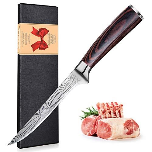 UniqueFire - Cuchillo para deshuesar profesional, cuchillo de red de sole, acero al carbono inoxidable, 16,5 cm, con mango ergonómico con caja de regalo